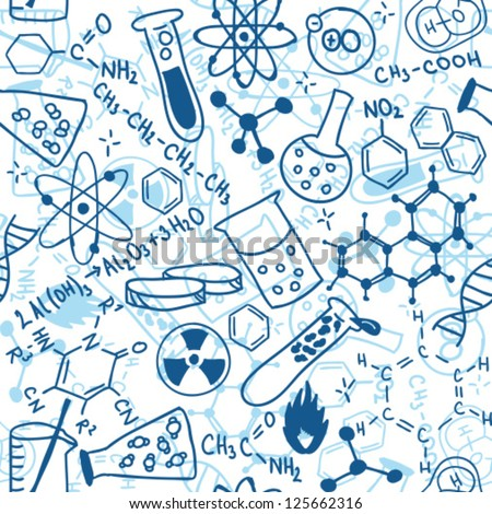 Seamless Pattern Background Illustration Science Drawings Stock ...