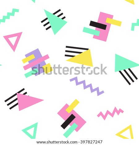 Seamless Pattern background in retro 80s geometric style for fabric print, paper print and website backdrop, vector illustration.