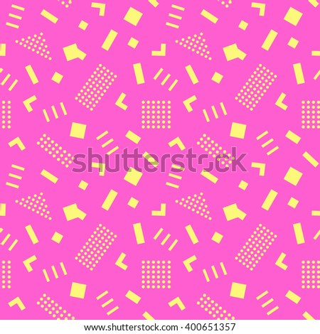 Seamless Pattern background in retro 80s geometric style for fabric print, paper print and website backdrop, vector illustration