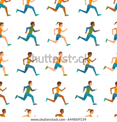 Seamless pattern background. Men and women in sport suits, fitness clothes running. People jogging and smiling. Vector cartoon illustration.
