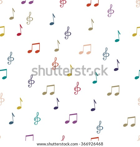 Seamless pattern background notes. Music treble clef vector. - stock vector