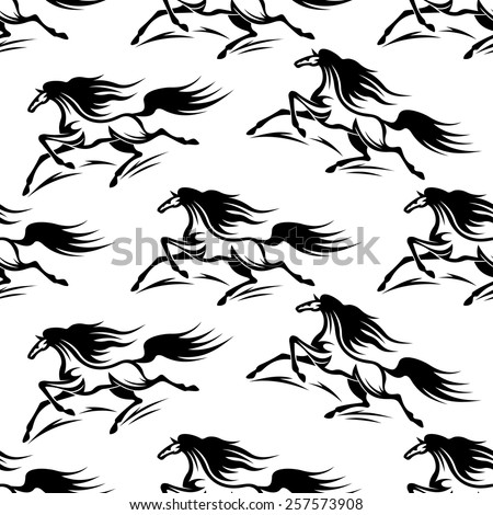 Seamless pattern background of black horses silhouettes with a flowing mane and tail in outline sketch style for fabric or page fill design - stock vector