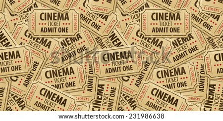 Seamless pattern background of cinema tickets. Eps10 vector illustration - stock vector