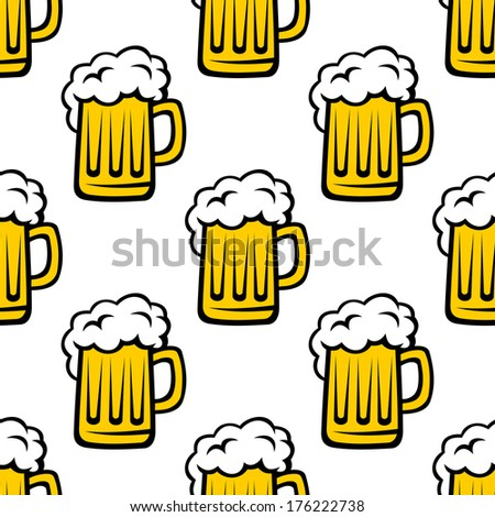 Seamless pattern background of tankards filled with golden lager or beer with white frothy heads - stock vector