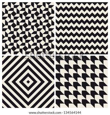 seamless pattern background set retro vintage design - stock vector
