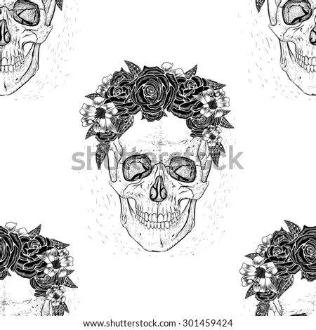 Seamless pattern background skull with flowers. - stock vector