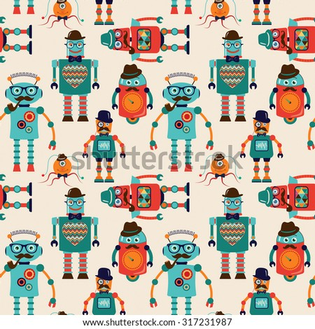 Seamless Pattern Background with Cute Colorful Retro Vintage Cartoon Hipster Robots. Pattern Swatch. Vector Illustration.