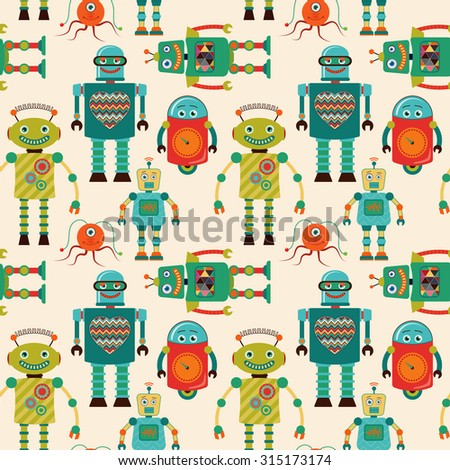 Seamless Pattern Background with Cute Colorful Retro Vintage Cartoon Robots. Pattern Swatch. Vector Illustration. - stock vector