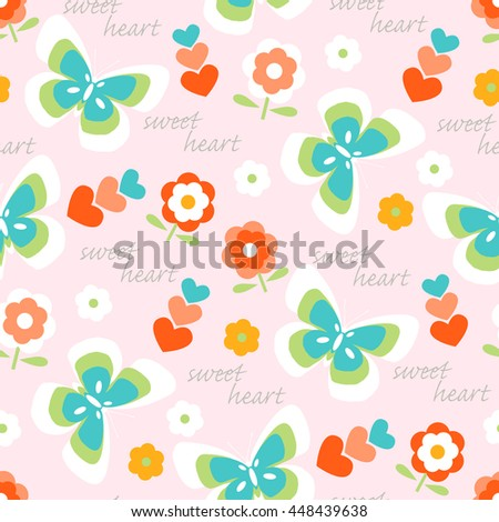 Seamless pattern background with flowers, butterflies and hearts - stock vector