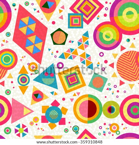 Seamless pattern background with geometric shapes and abstract designs in colorful vibrant pop style. EPS10 vector. - stock vector