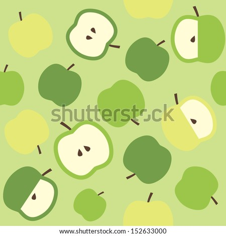 Seamless pattern background with green apples. Vector illustration. - stock vector