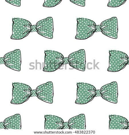 Seamless pattern background with green bow-tie. Vector backdrop for holiday decorating greeting cards for wedding, bridal, birthday, Valentine's day, new year, Christmas.