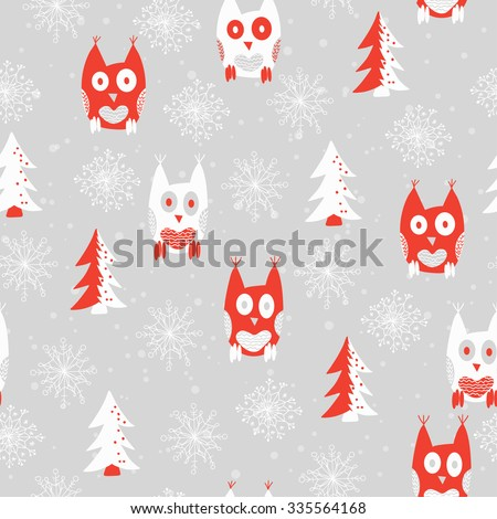 Seamless pattern background with hand drawn owls, fir-tree and snowflakes. Design for fabric. Christmas theme. - stock vector