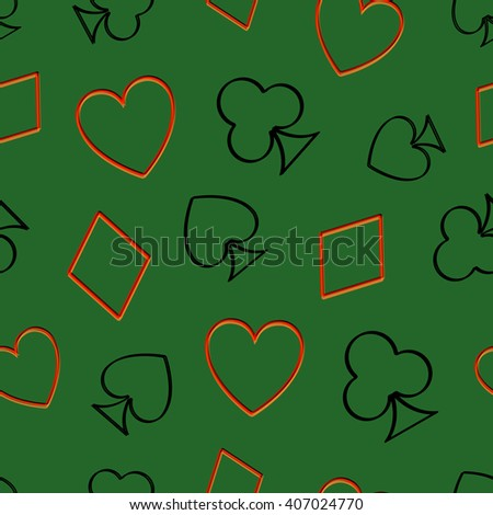Seamless pattern background with playing cards suit. Vector illustration.