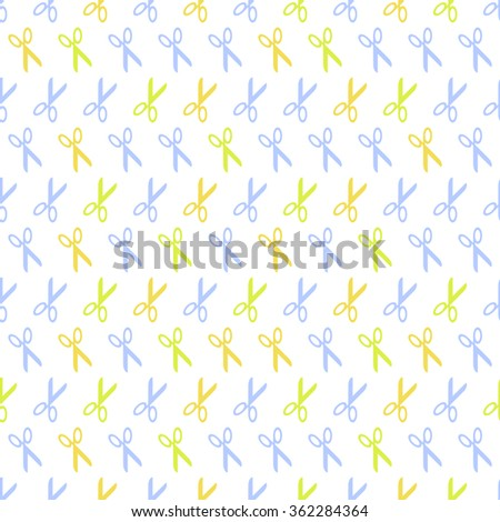 Seamless pattern background with scissors. Tools vector. Wallpaper hairdressing.