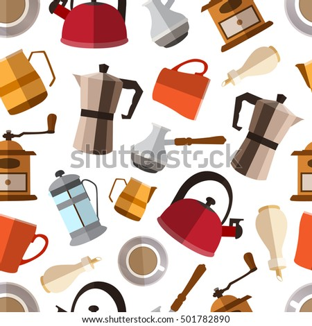 Seamless pattern background with  simple coffee flat icons vector illustration