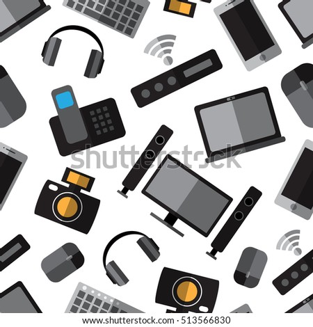Seamless pattern background with simple devices flat icons on white background vector illustration