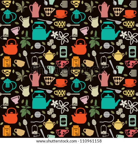Seamless pattern background with tea related symbols 2 - stock vector