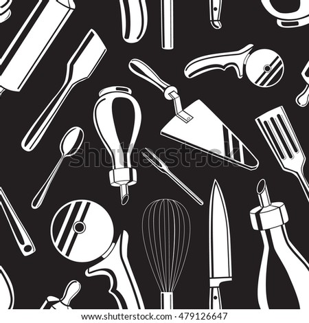 Seamless pattern background with white hand drawn kitchen tools vector illustration