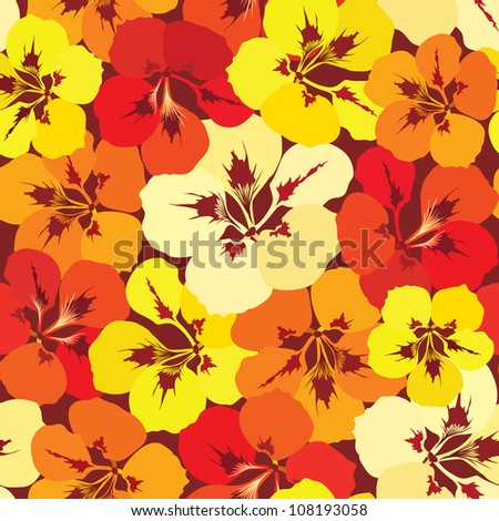 seamless pattern background with yellow, lilac, red and orange flowers - stock vector