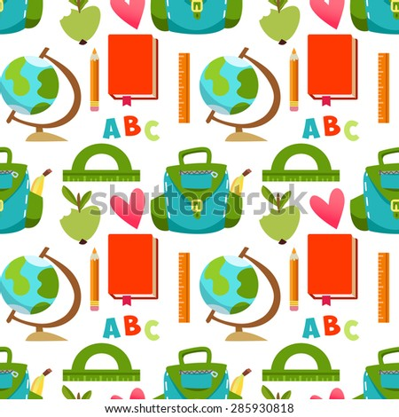 Seamless pattern Backpack, it's time for school, ruler, books, apple, education. Cute children's pattern  in a vector. Back to School. - stock vector