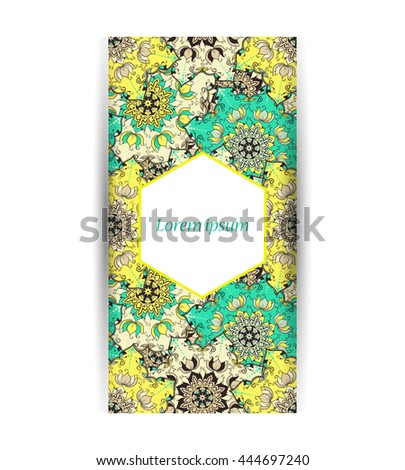 Seamless pattern. Banner, vector illustration. Floral mandala. Flyer. Front page and back page in morrocan style.