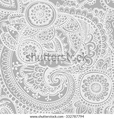 Seamless pattern based on traditional Asian elements Paisley. Black - white version. - stock vector