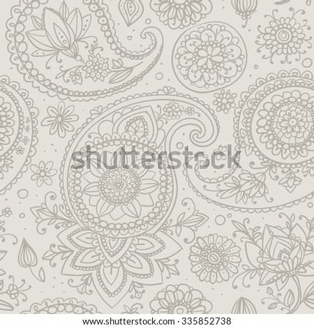 Seamless pattern based on traditional Asian elements Paisley. Bright contour drawing. - stock vector