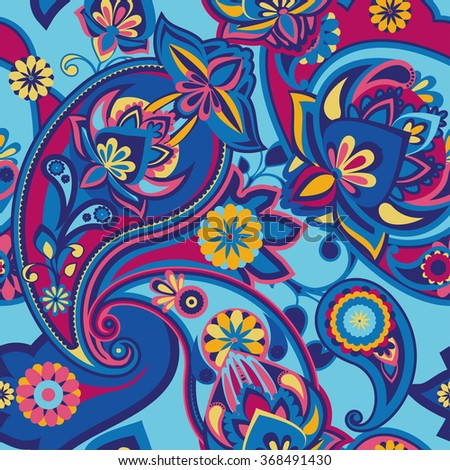 Seamless pattern based on traditional Asian elements Paisley. Bright pink and blue.