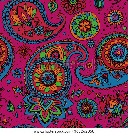 Seamless pattern based on traditional Asian elements Paisley. Bright pink, blue, orange. - stock vector