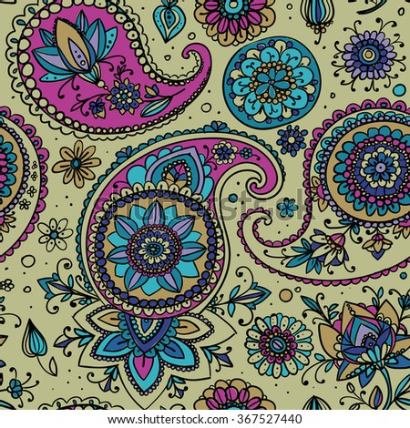 Seamless pattern based on traditional Asian elements Paisley. Bright tone - gold, pink, blue. - stock vector