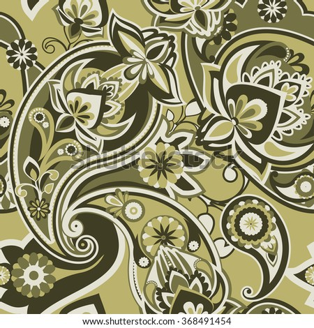 Seamless pattern based on traditional Asian elements Paisley. Brown Duotone. - stock vector