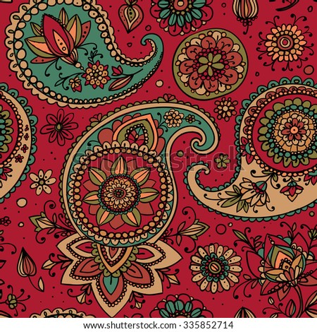 Seamless pattern based on traditional Asian elements Paisley. Dusty pink and blue. - stock vector