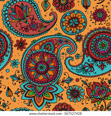 Seamless pattern based on traditional Asian elements Paisley. Golden background, blue, pink, orange pattern. - stock vector