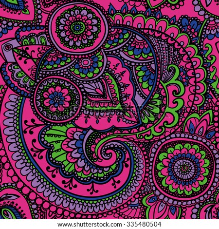 Seamless pattern based on traditional Asian elements Paisley. Neon pink.