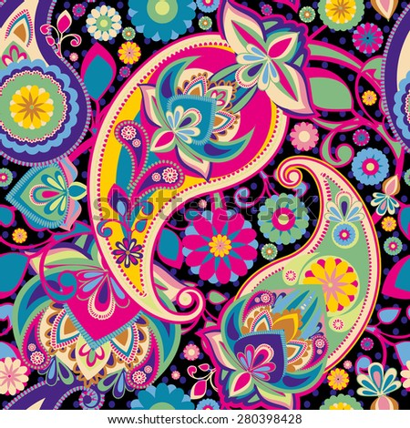 Seamless pattern based on traditional Asian elements Paisley. Purple, pink, green, bright colors. - stock vector