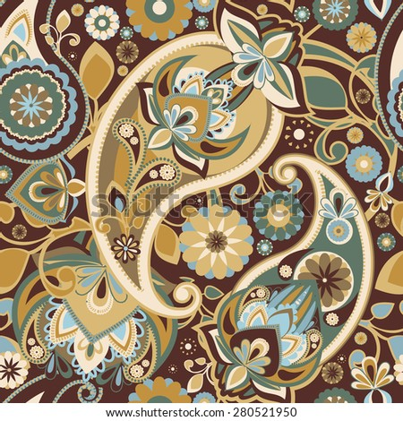 Seamless pattern based on traditional Asian elements Paisley. Restrained browns. - stock vector