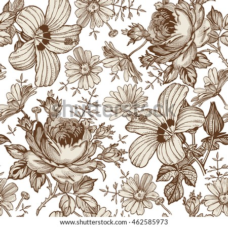 Seamless pattern. Beautiful blooming realistic isolated flowers. Vintage background. Chamomile Rose hibiscus mallow wildflowers. Wallpaper. Drawing engraving linear. Vector victorian Illustration.