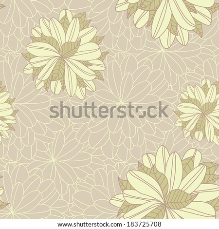 Seamless Pattern Beautiful Floral Background or Wallpaper - stock vector