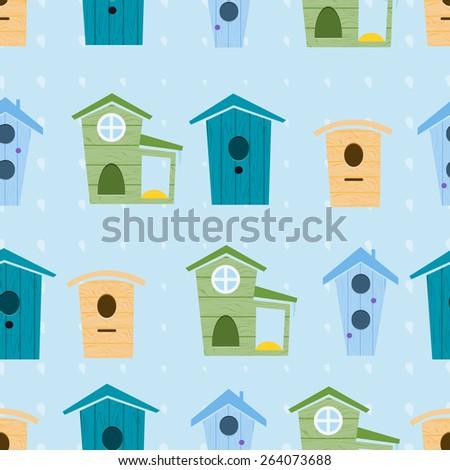 seamless pattern , birdhouse , bird feeders - stock vector
