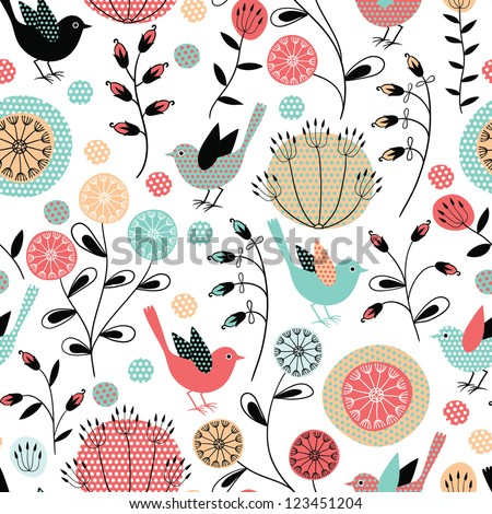 Seamless pattern.Birds and flowers - stock vector