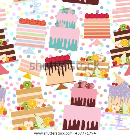 Seamless pattern Birthday, valentine's day, wedding, engagement. Set sweet cake, Cake Stand, fresh fruits berries, chocolate icing sprinkles, cake pops, pastel colors on white background. Vector - stock vector