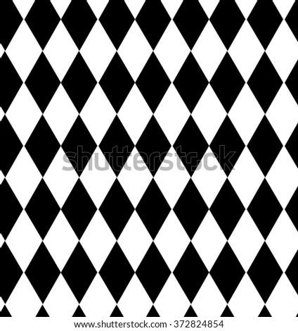 seamless pattern black and white diamond - stock vector