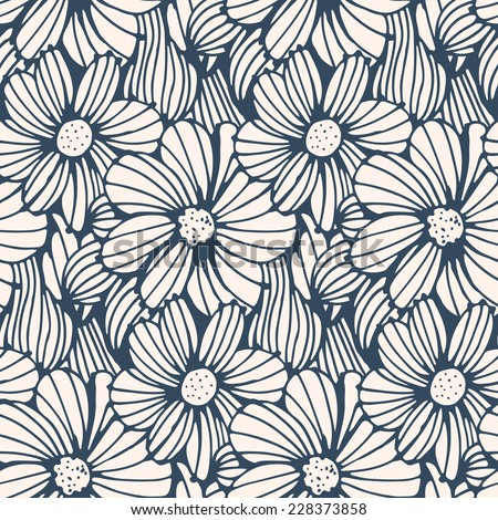 Seamless pattern - black and white  flower background.Vector illustration.  - stock vector