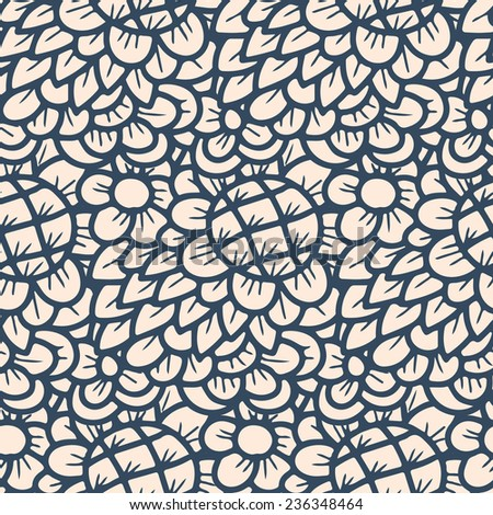 Seamless pattern - black and white flower background.Vector illustration.