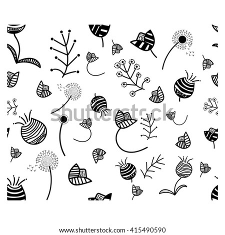 Seamless pattern, black and white flowers. Vector illustration. - stock vector