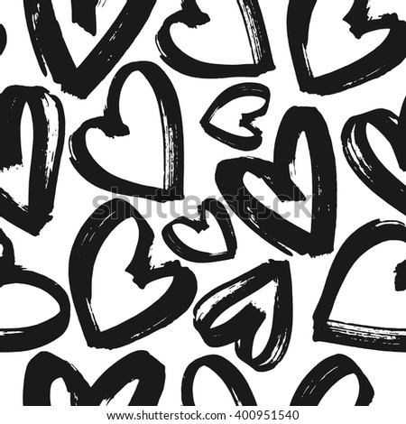 Seamless pattern black and white hearts, monochrome grunge heart background, vector illustration, design for banner, flyer, greeting card, invitation, holiday, wrapping, textile - stock vector
