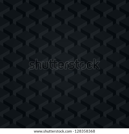 Seamless pattern black background. Dark surface with 3-D effect cubes in perspective. Old retro wallpaper with repetition geometric shape. Vector illustration clip-art web design elements in 8 eps - stock vector