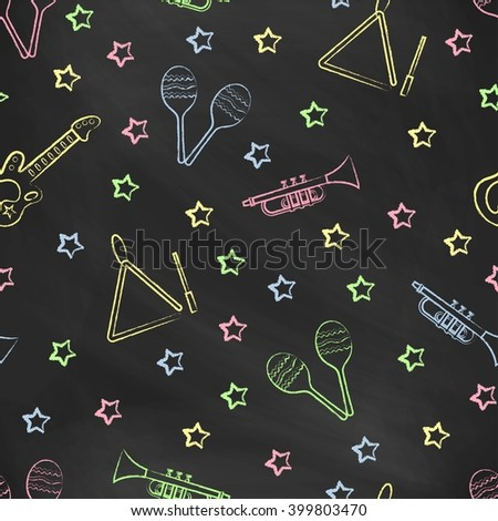 Seamless pattern black chalk board with color children's chalk drawings. Hand-drawn style. Seamless vector wallpaper with the image of musical instruments  maracas, guitar, musical triangle, stars - stock vector