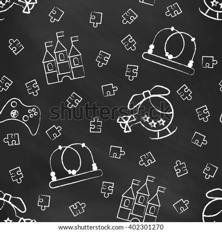 Seamless pattern black chalk board with white children's chalk drawings. Hand-drawn style.  - stock vector